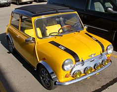 vintage mini cooper, we had various Mini at different times and one was this yellow/ orange tone Yellow Car, Mellow Yellow, Yellow Submarine, My Dream Car, Dream Cars, Classic Mini, Classic Cars, Jaguar, Automobile