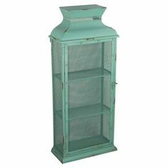 "Perfect for stowing family heirlooms or your favorite trinkets, this meshed metal cabinet features 3 tiers and a distressed aqua blue finish.  Product: CabinetConstruction Material: MetalColor: Aqua blueFeatures:  HandmadeThree tiersDistressed finish Dimensions: 35"" H x 15"" W x 7"" D"