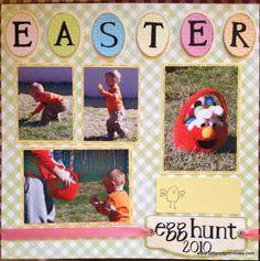 spring scrapbook layouts   ShE's CrAfTy: Easter Egg Hunt - Scrapbook Layout