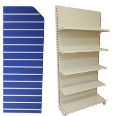 Quality low cost shelving units.  Add a slatwall end panel to finish the  look and add extra retail display space to your shop.  Our slatwall is available in a range of colours and wood finishes with a choice of slatwall inserts to create the perfect colour combination. At Shopfitting Supplies we stock everything you need all under one roof. A one stop shop for low cost shopfittings.   #slatwall #shelves #shelving #gondola #wallshelf #slatwallpanel