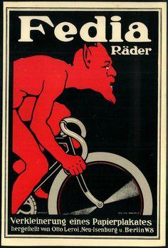 """FEDIA-RÄDER"", herrl. Plakatentwurf im Format 185 x 125 mm um 1920, signiert Otto Leroi/Frankfurt."