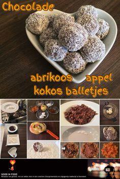 Chocolade abrikoos appel kokos balletjes: http://goodinfood.wordpress.com/2014/11/12/chocolade-abrikoos-appel-kokos-balletjes/
