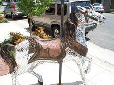 Meridian, Mississippi / Carousel Horses Mosaic Art, Mosaics, Mary Go Round, Meridian Mississippi, Carosel Horse, Painted Horses, Horse Fly, Rocking Horses, Wooden Horse