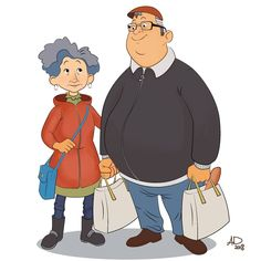 A nice elderly couple. He always carries the bags and she always hold his arm.  #characterdesign #peoplesketching #people #digital #doodle #peoplesketch #sketch #drawing #draw #couple #couples #valentinesday #love #instagood #beautiful #happy #art #nofilter #alexdanila #old #elders #nice