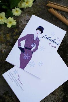 Retro lady, fabulous mum  £2.10 A6 Size, Retro Illustration, Paper Texture, Lilac, I Shop, Vintage Ladies, Messages, Lady, Prints