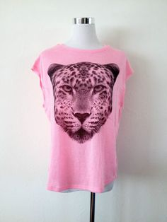 NWT ZARA WINTER 13-14 COLLECTION SPECIAL WEAVE LEOPARD T-SHIRT Fuchsia Size M