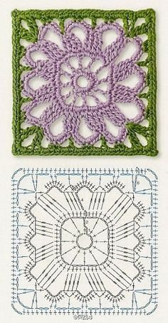 This Pin Was Discovered By Crochet Motif Patterns, Crochet Blocks, Granny Square Crochet Pattern, Crochet Diagram, Crochet Chart, Crochet Squares, Crochet Granny, Crochet Stitches, Knitting Patterns