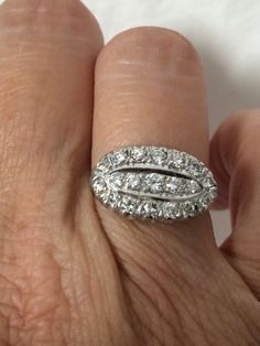 Over one carat total weight platinum diamond ring size 6 at my store for 1500