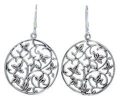 Open Circle Flower Filigree Sterling Silver Dangle Hook E