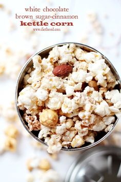 White Chocolate Brown Sugar-Cinnamon Kettle Corn | www.diethood.com | Delicious and festive Kettle Corn covered with melted white chocolate, brown sugar and cinnamon. | #popcorn #recipe #chocolate