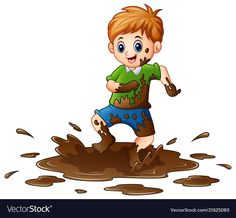 Little boy playing in the mud vector image on VectorStock Bee Drawing, Human Drawing, Preschool Labels, Safety Rules For Kids, Clipart Boy, Boy Illustration, Boys Playing, My Themes, Cartoon Art