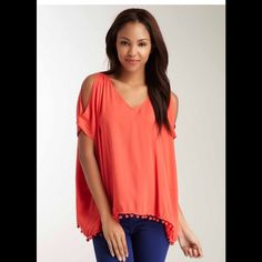 Vava by Joy Han Pompom Open Shoulder Blouse Orange-Red Color Excellent Condition .Perfect for Summer !! Vava by Joy Han Tops Blouses