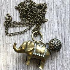 Boho Long Brass Tone Elephant Necklace Pendant Hippie New Age Elephant Necklace, New Age, Pendants, Brass, Pendant Necklace, Boho, Personalized Items, Pretty, Jewelry