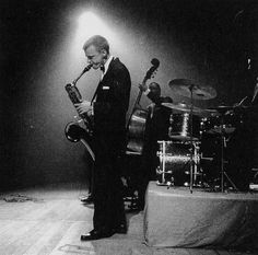 Gerry Mulligan (Apr. 6, 1927 - 1996): jazz composer, arranger - and the man who put the baritone sax on the map as a player…    Photo of Mulligan at The Concertgebouw, Amsterdam, 1957