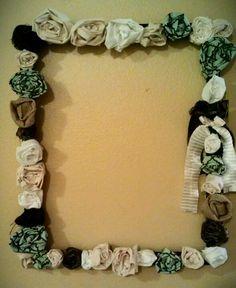 Door wreath or wall hanging? Fabric scraps wreath. Picture frame wreath.