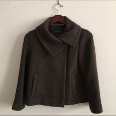 Banana Republic Wool Boucle Swing Wrap Coat Brown Single button closure, but I often wore unbuttoned. Lined. Great used condition. Banana Republic Jackets & Coats