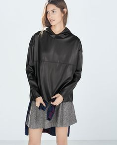 Image 2 of FAUX LEATHER SWEATSHIRT from Zara
