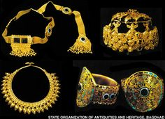 Clockwise from top left: a golden diadem found near the skulls of two women, a gold crown found on a child, armlets inlaid with semiprecious stones, and a gold necklace that once graced the neck of an Assyrian royal consort. (By kind permission of the State Organization of Antiquities and Heritage, Baghdad).