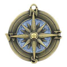 Antique Brass Compass Pendant