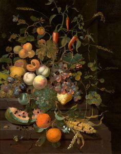 JAN MORTEL A170/3053 JAN MORTEL (1650 Leiden 1719) Früchtestillleben mit Maiskolben und Insekten. Öl auf Leinwand. 87,4x68,9 cm.