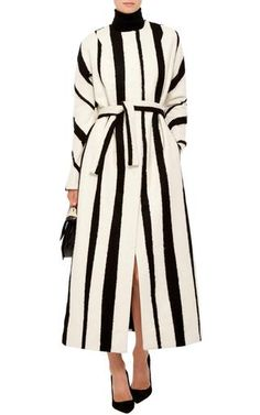 Striped Wool And Silk Blend Maxi Belted Coat by ROCHAS