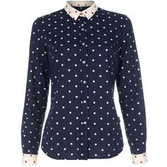 Paul Smith Navy Jacquard Polka Dot Shirt (360 BRL) ❤ liked on Polyvore featuring tops, shirts, blouses, blusas, shirt tops, polka dot shirt, navy shirt, curved hem shirt and navy top