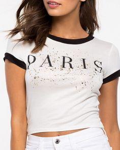Letter Paris t shirt for women white short crop tops short sleeve
