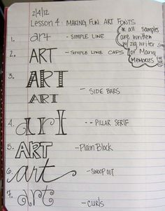 Hand drawing different fonts