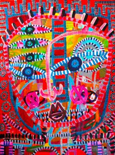 Jon Stucky Angels Inside - 2015 Acrylic, oil & spray paint on canvas 76 x 101 cm 'RED' - Expressionism Group Exhibition at SOFITEL Gold Coast