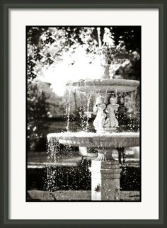 Framed Photo Black and White Fountain in Madrid.  Monochrome high contrast Spain Europe travel photos for home and office decor.