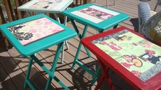 buy an old set of wooden T.V. stand/trays and paint them with chalk paint and then decoupage them..very cute.