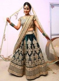 Bottle Green Velvet Bridal Lehenga with Dabka Embroidery. India emporium.com - USD $1,785.00 (Made to order)