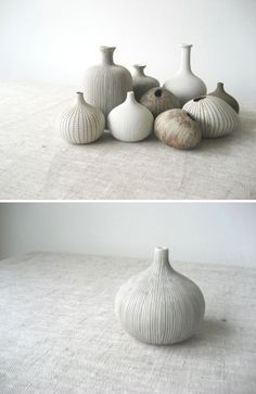 Pebble Vases by Lindform is a collection of porcelain clay vases inspired by Scandinavian nature with it's organic tones and simple shapes. Lindform is a Swedish family business started on a … Ceramic Clay, Ceramic Vase, Ceramic Pottery, Pottery Art, Clay Vase, Porcelain Clay, Pottery Ideas, Sgraffito, Earthenware