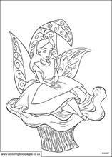 Alice seating on a huge leaf