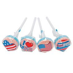 Amazon.com : Fun Express - Patriotic Printed Lollipops for Fourth of July - Edibles - Sucker & Pop - Suckers & Lollipops - Fourth of July - 46 Pieces : Grocery & Gourmet Food 4th Of July Parade, Fourth Of July, Us Independence Day, Fun Express, Bulk Candy, Oriental Trading, Party Guests, Favor Bags, Memorial Day
