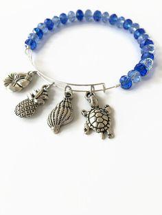 Beach Theme Beaded Bracelet Blue Crystal Wire Bracelet Blue Crystal Bead Bracelet Expandable Charm Bangle Crystal Stacking Bracelet (MBX200) by JulemiJewelry on Etsy