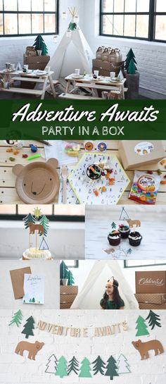 Adventurous kids will go wild for our Adventure Awaits party in a box! Let's Explore party features outdoorsy camping patterns and wild-life themed designs. 1st Boy Birthday, Boy Birthday Parties, Birthday Ideas, Party In A Box, Party Plates, Party Cups, Adventure Awaits, Adventure Kids, Wild Life