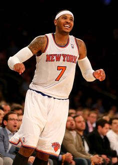 c1868db9c Carmelo Anthony  7 of the New York Knicks reacts after missing a shot late  in