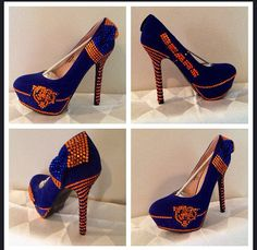 b59b672129 Custom Bling Football heels Chicago Bears Free Shipping Bling Heels
