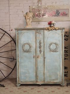 Painted Cottage Chic Shabby Aqua Armoire AM223 by paintedcottages