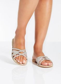 Womens *Quiz Silver Diamante Flat Sliders- Silver
