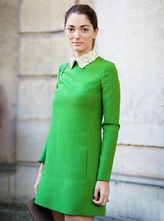 Sofia Sanchez Barrenchea wearing a grass green long sleeve dress with a sequined collar