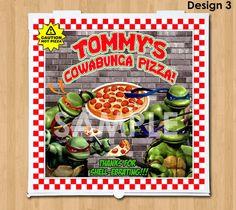 TMNT Teenage Mutant Ninja Turtles Pizza Box Label - Printable Personalized Birthday Party Favor - matches TMNT Birthday Supplies Invitation on Etsy, $7.00