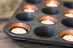 Muffin tins as votive centerpieces.