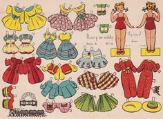 Trini And Nieves Vintage Paper Dolls - by The Paper Collector -- Two beautiful Vintage Dress Up Paper Dolls, full of acessories, by The Paper Collector website.