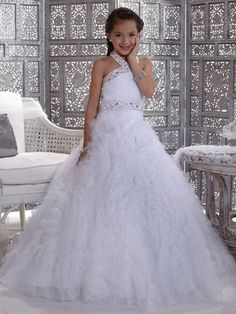 Long Girls Pageant Dresses White