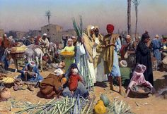 Egypt , Old Cairo Paintings: Carl Leopold Müller (Austrian,1834 - 1892) - Market in Lower Egypt