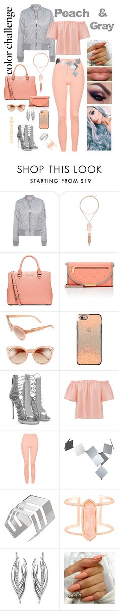 """Color Challenge - Peach n Gray - August 2016"" by soniasonjai ❤ liked on Polyvore featuring Schott NYC, Kendra Scott, Michael Kors, Marc by Marc Jacobs, Chloé, Casetify, Rebecca Taylor, Topshop, Paco Rabanne and Shaun Leane"