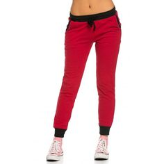 Drawstring Speckled Jogger Pants in Red ($14) ❤ liked on Polyvore featuring activewear and activewear pants