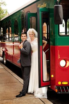 Fun trolley transportation for your wedding from Old Urban Trolley. Photo by @Andrea Murphy Photography. #wedding #trolley #transportation